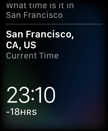 Siri responding to a hands-free query on Apple Watch.