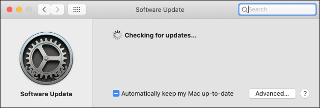 "The ""Software Update"" pane in macOS."