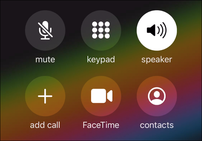 The call Menu on iPhone.