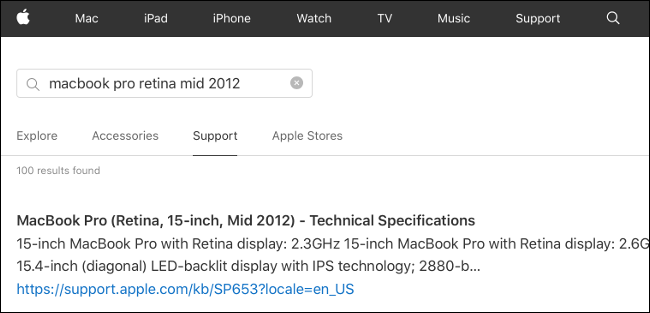 Technical Specifications for a MacBook Pro on Apple.com.