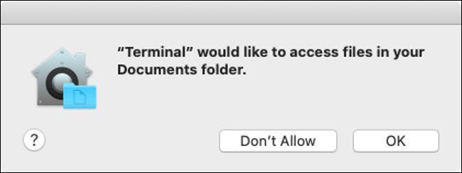 macOS Catalina Disk Access Permission Dialog