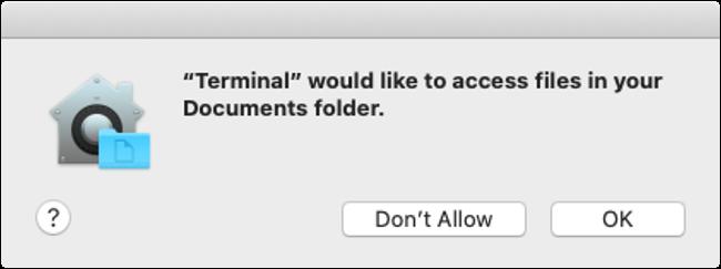 macOS Catalina Disk Access Permission Dialog