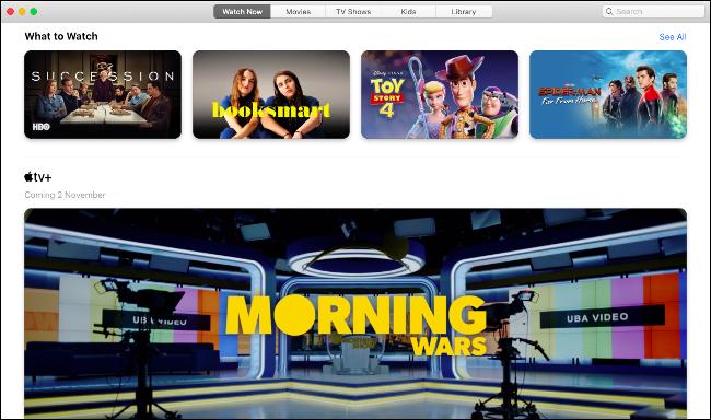 Nueva aplicación de TV en macOS Catalina