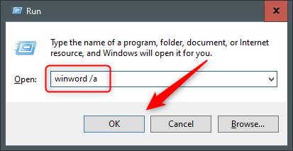 "Type ""winword /a"" in the ""Run"" dialog."