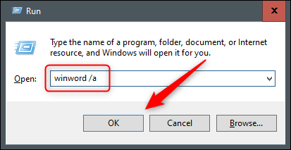 "Type ""winword /a"" in the ""Run"" dialog."