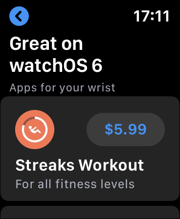 An app downloading from the App Store on an Apple Watch.