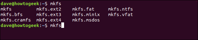 List of supported file systems in a terminal window