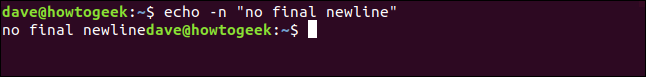 "echo -n ""no final newline"" in a terminal window"