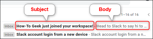 The subject and body preview of an email in the default Gmail setting.