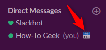 """The """"In a Meeting"""" status next to a person's name in the """"Direct Messages"""" sidebar menu in Slack."""