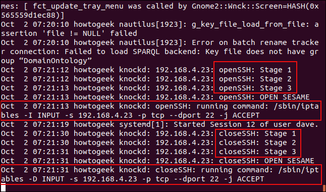 A syslog showing the port knocking events in a terminal window.