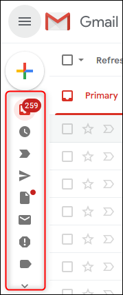Gmail's sidebar in contracted mode.