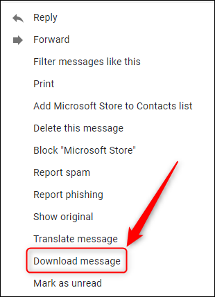 """The """"Download message"""" options."""