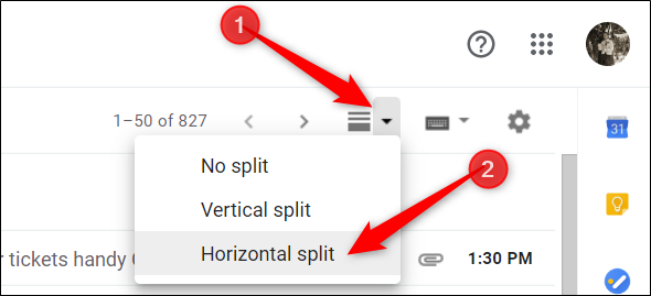 Click the new icon that appears in your inbox and choose either vertical or horizontal split.