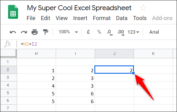 Click on the little blue square of the cell you entered the formula in to apply it to the rest of the table.