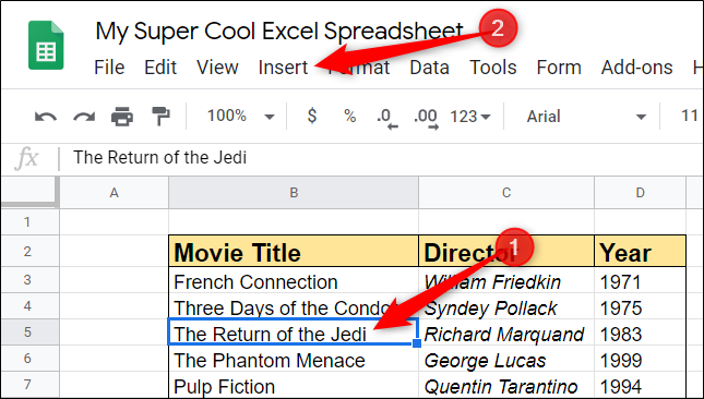 "Highlight a cell that you want to insert a row or column next to, and then click ""Insert."""