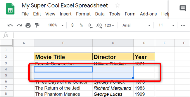 Blank rows or columns are added directly to the place where you specify. Sheets adds them seamlessly.