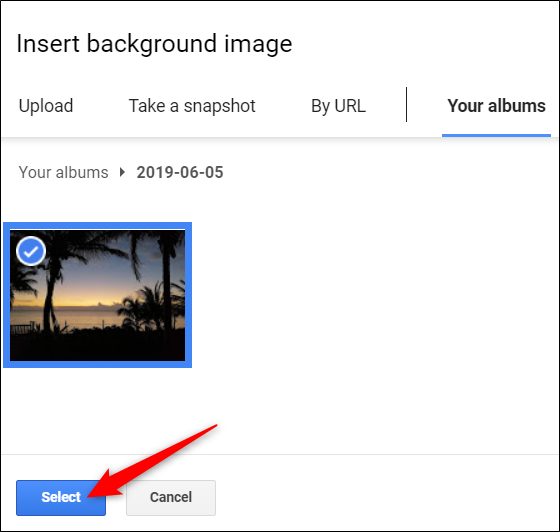 """After you find an image, click """"Select."""""""