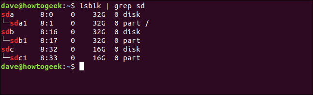 Output from lsblk showing unmounted block devices in a terminal window