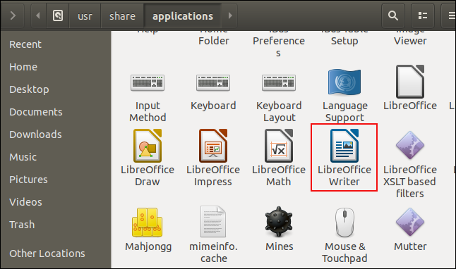 Files window showing LibreOffice Writer icon