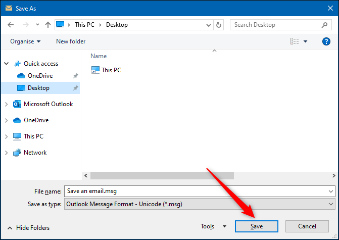 """The """"Save As"""" dialog withe the Save button highlighted."""