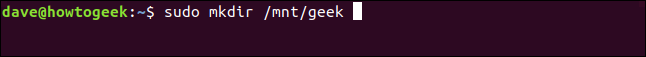 mkfs.ext2 ~/howtogeek.img in a terminal window
