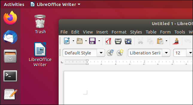 Working LibreOffice Writer desktop shortcut.