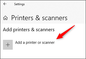"Click ""Add a Printer or Scanner."""
