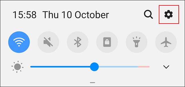 Swipe down to access the notifications shade, then tap the gears icon to access the Android settings menu