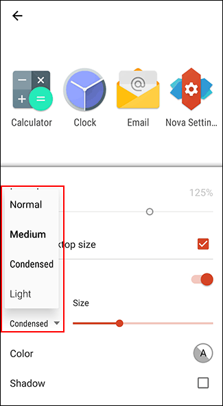 In Nova Launcher's Icon Layout menu, choose your font from the Font drop-down menu