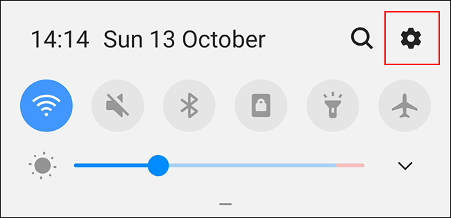 Swipe down to access the Android notifications shade, then press the gear icon
