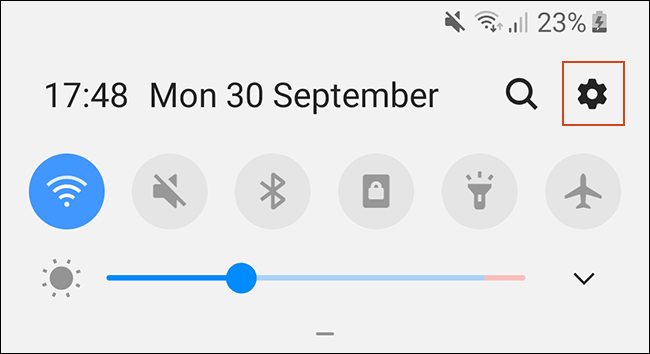 Scroll down the notifications shade and tap the gear icon to access your Android settings