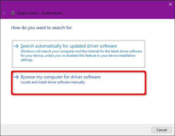 Windows 10 Browse for Drivers