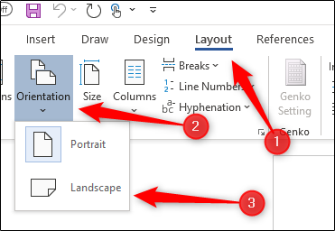 Change orientation of document to landscape