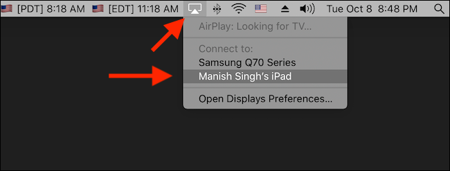 Click to enable Sidecar from AirPlay menu