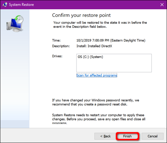 Windows 10 Confirm Restore Point