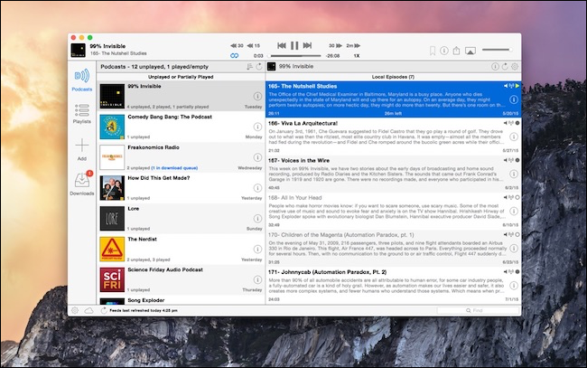 Downcast podcast player on a Mac.