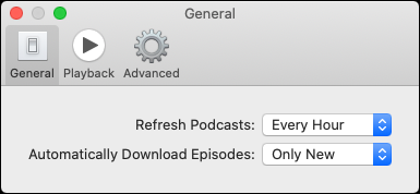 "The ""General"" tab in the Podcasts app."