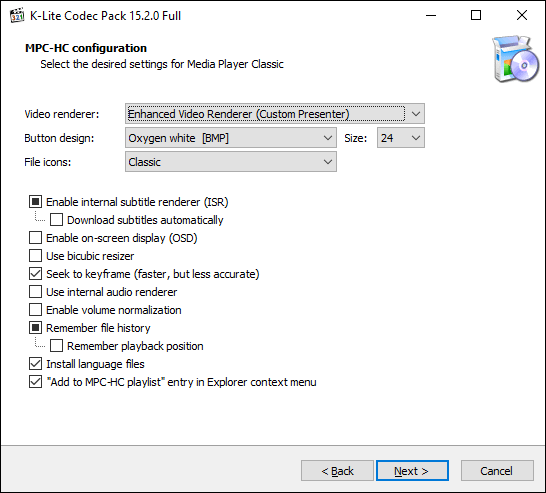 Confirm your K-Lite MPC settings and options, then click Next