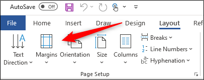 Margins option in page setup