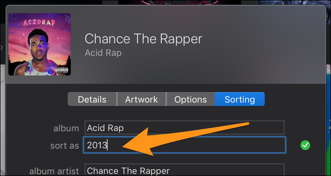 set the album title sorting to the year of release