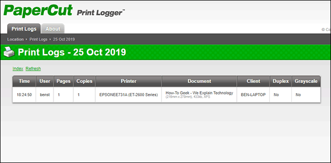 An example of a print log within the PaperCut Print Logger admin page