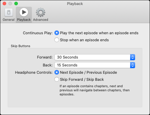 """The """"Playback"""" tab in the Podcasts app."""