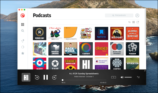"The Pocket Casts ""Podcasts"" menu on a Mac."