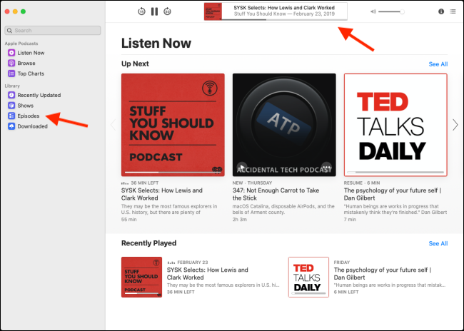 "The ""Listen Now"" menu in the Podcasts app."
