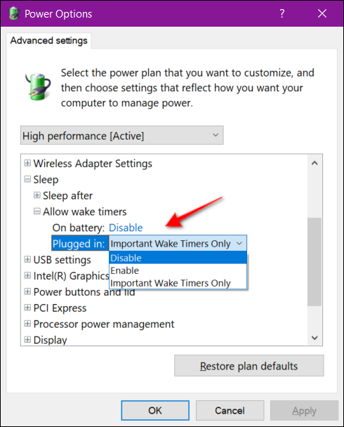Power Options Wake Timer Laptop
