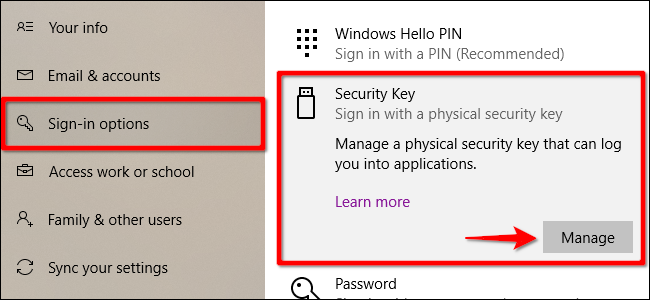Windows 10 Remove Security Key