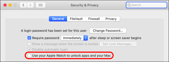 """The """"Use Your Apple Watch to Unlock Apps and Your Mac"""" option under the General tab on a Mac."""