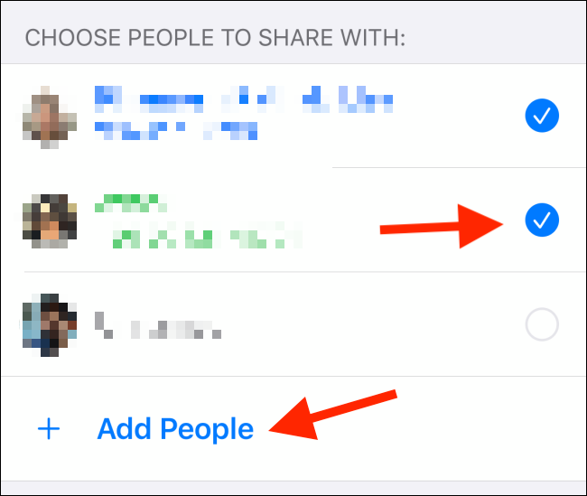"Tap the radio button next to each contact; tap ""Add People"" add another contact."