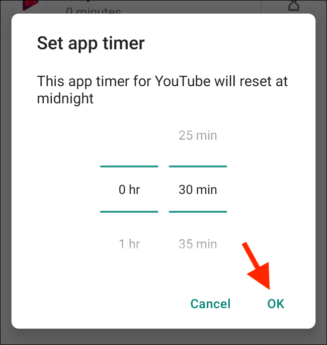 "Tap ""OK"" in the ""Set App Timer"" popup."